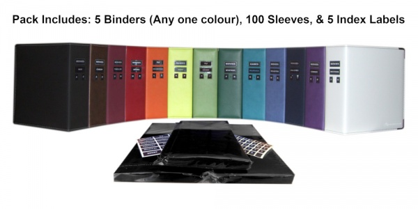 DVD Binder Bulk Pack (5 Binders + 100 Sleeves)